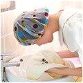 1 шт. Цвет случайный точка Водонепроницаемый душ Кепки уплотненные теплые леггинсы с эластичной резинкой; ванна шляпа, шапочка для купания для Для женщин парикмахерский салон Ванная комната продукты - фото