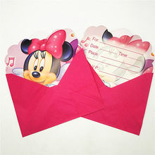 12pc/lot Cartoon Minnie Mouse Party Supplies Children's Birthday Party Decorations And Cute Birthday Invitations Supplies 29(China)