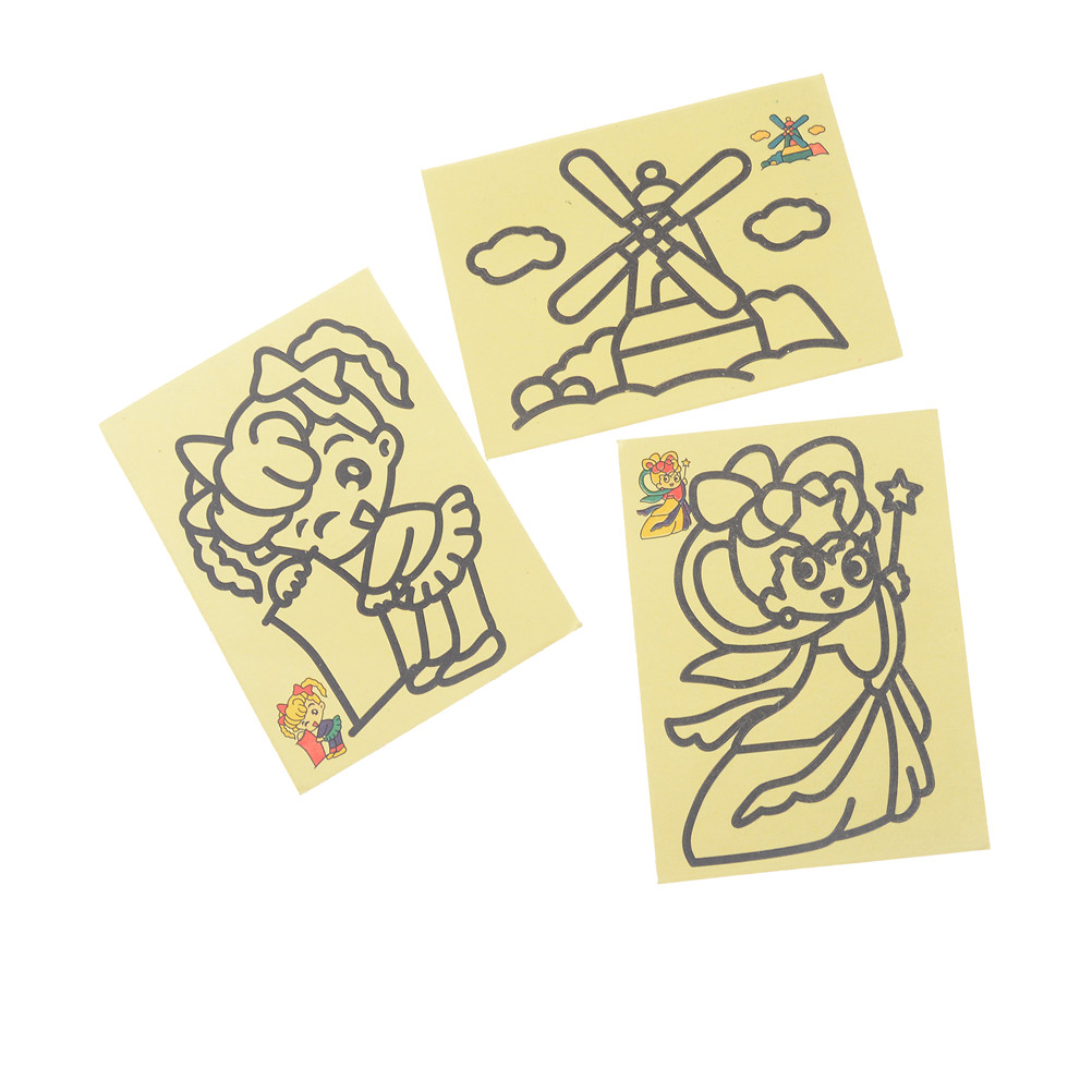 5Pcs Handmade Sand Art Painting Cards Colored Cartoon Drawing Toys Sand Art Kids Coloring DIY Crafts Learning Educational Toys