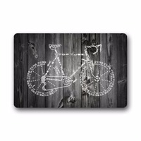 Bicycle With Wood Background Indoor/Outdoor Welcome Door Mat