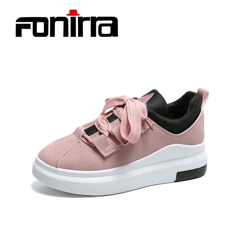 FONIRRA Pu Leather flat shoes women Lace up Platform Loafers Flats Large base bow low leather for shoes Large size 36--42 036 fonirra new fashion high top casual shoes for men ankle boots pu leather lace up breathable hip hop shoes large size 45 728