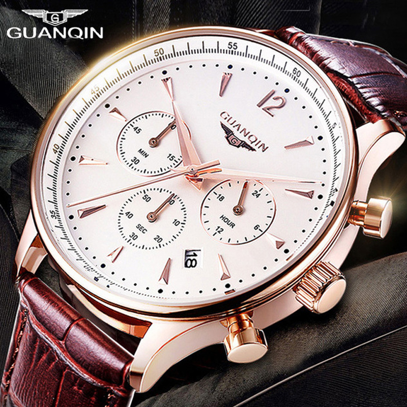 Mens Watches Top Brand Luxury GUANQIN Military Sport Quartz Watch Men Chronograph Male Clock Casual Leather Calendar Wristwatch megir sport mens watches top brand luxury male leather waterproof chronograph quartz military wrist watch men clock saat 2017