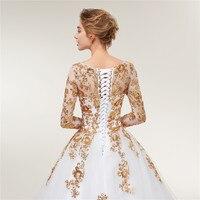 Fansmile Long Sleeve Golden Lace Vestido De Noiva Wedding Dresses 2018 Train Custom-made Plus Size Bridal Wedding Gowns FSM-404T 4