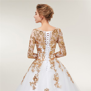 Image 5 - Женское свадебное платье Fansmile, золотистое кружевное платье с длинным рукавом и шлейфом, модель размера плюс на заказ, 2020
