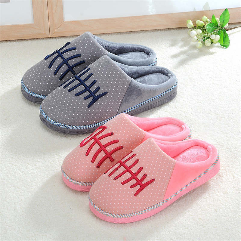 Mrs win Good Quality Women Men Winter Soft Slippers Plush Couples Fishbone Wishbone Home Shoes Slippers pantuf