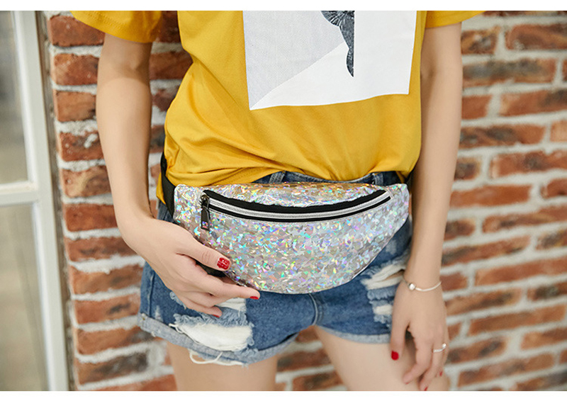 Waist Bags Women Pink Silver Fanny Pack female banana Belt Bag Holographic Geometric Women's Waist Packs Laser Chest Phone Pouch