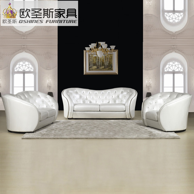Captivating China Factory Sale Euro Hotel Pure White Chesterfield Furniture Living Room  New Model Cowhide Pvc Leather