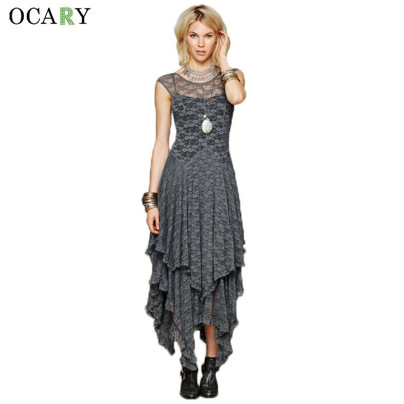Fashion Multi Layers Irregular Dress Elegant Backless Lace Dress Women Summer Party Outfit Maxi Beach Dress  Size Vestidos