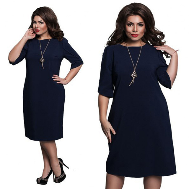 L-6XL Large Size 2020 Spring Dress Big Size Casual Dress Blue Red Green Straight Dresses Plus Size Women Clothing Vestidos 4