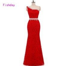 2018 Long Mermaid Red Lace Plus Size One Shoulder Abendkleider Evening Dresses Women Formal Dresses Mother of the Bride B20(China)