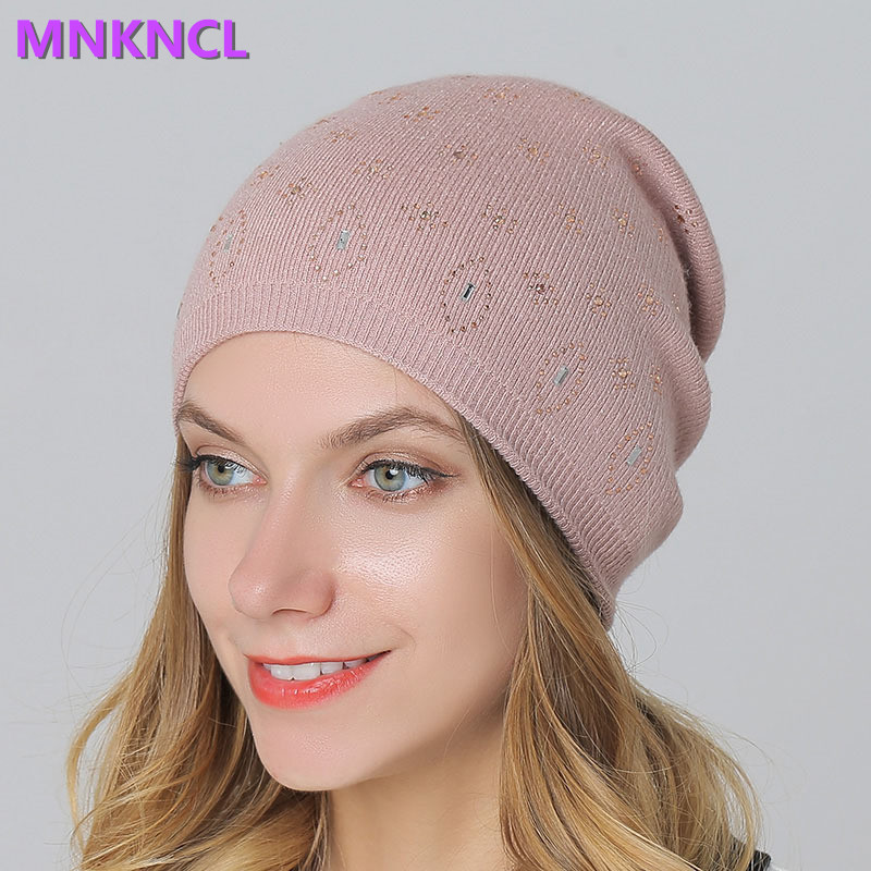 2017 New Women's Beanie Hats Casual Wool Shine Diamond Beanies For Women Skullies Beanies Knitting Hat Gorras Cap For Girls the new children s cubs hat qiu dong with cartoon animals knitting wool cap and pile