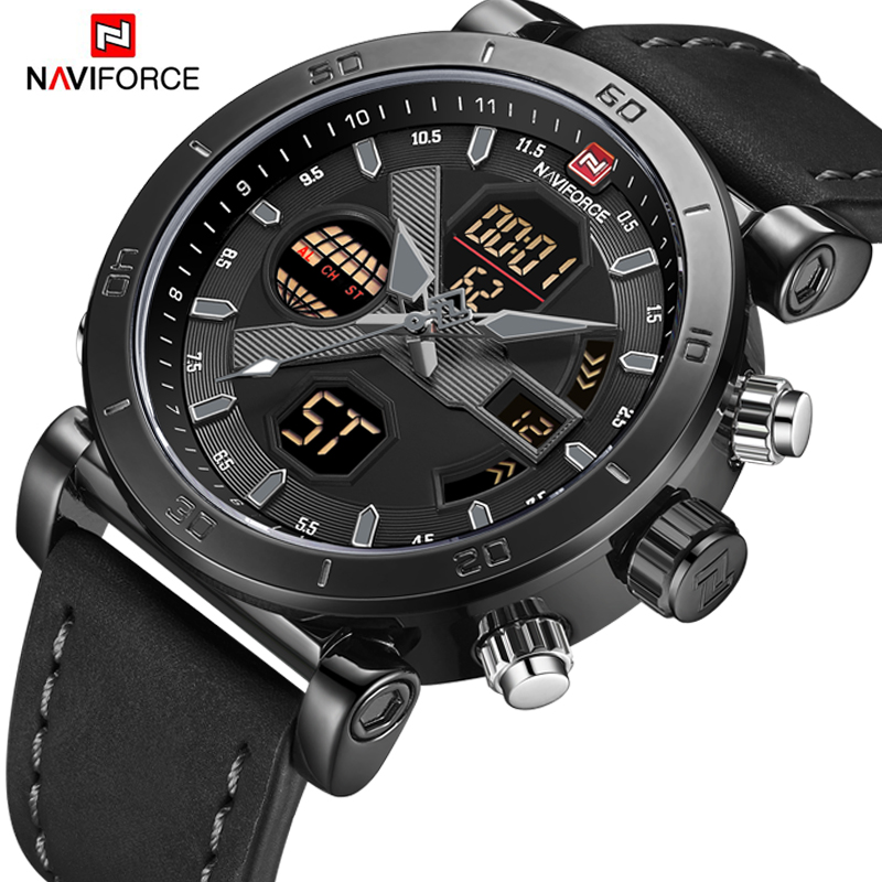 NAVIFORCE Luxury Men's LED Analog Quartz Watch Men Army Military Sport Watches Male Waterproof Date Wristwatch Relogio Masculino naviforce new luxury men led quartz watch men s fashion military sport watches male date digital analog clock relogio masculino