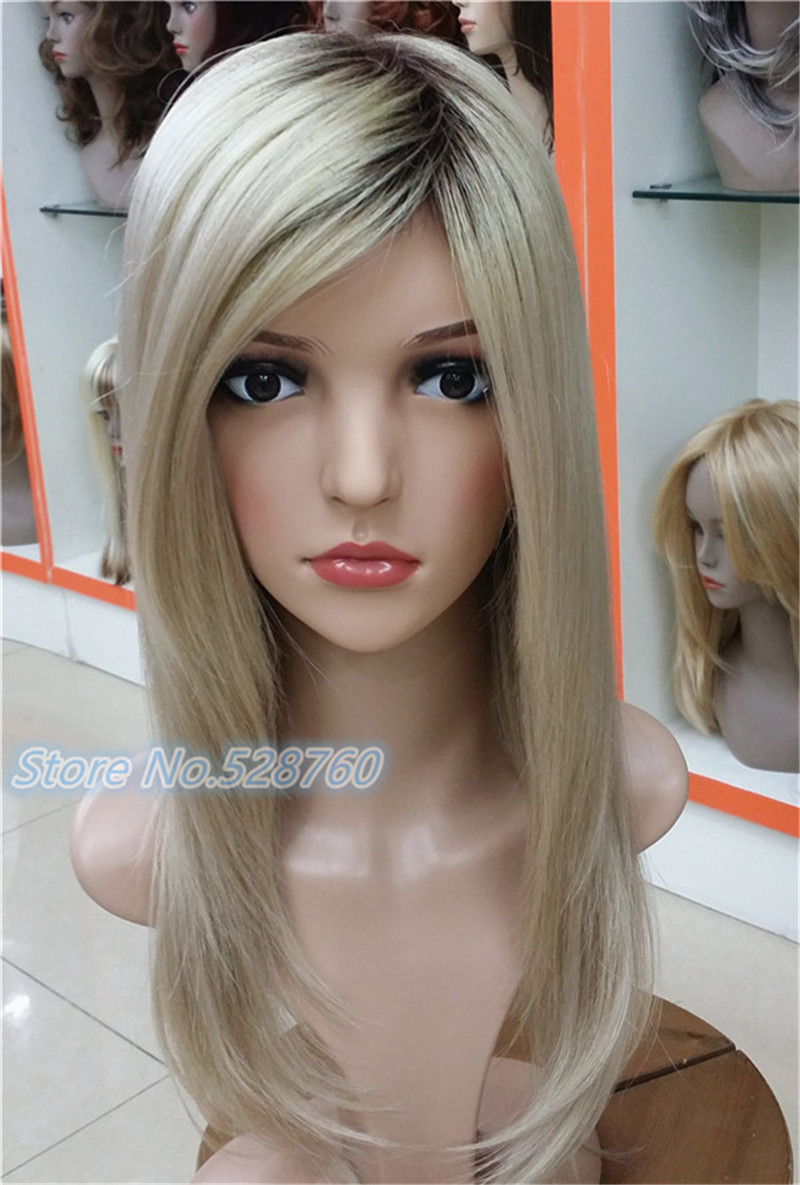 ФОТО Ombre Wig 22 inches Honey Blonde with dark root wig TOP quality hair wigs Free shipping