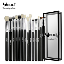 BEILI Black 15Pcs Natural Goat Pony hair Eye shadow Blending Eyeliner Eyebrow Smoke shade Makeup brush Set