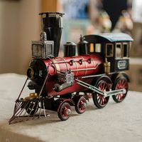 Retro Finishing Locomotive Model L Size Metal Train Iron Steam Train Model Treasure Handcraft Home Store