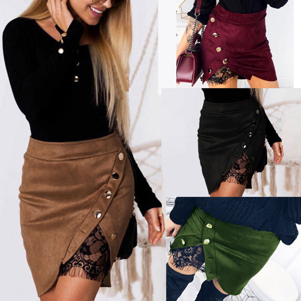 Womail Women Skirt Summer Lace Patchwork Button Zipper Sexy Pencil Skirt Casual Formal Long Sleeve Skirt 2019 Dropship F10