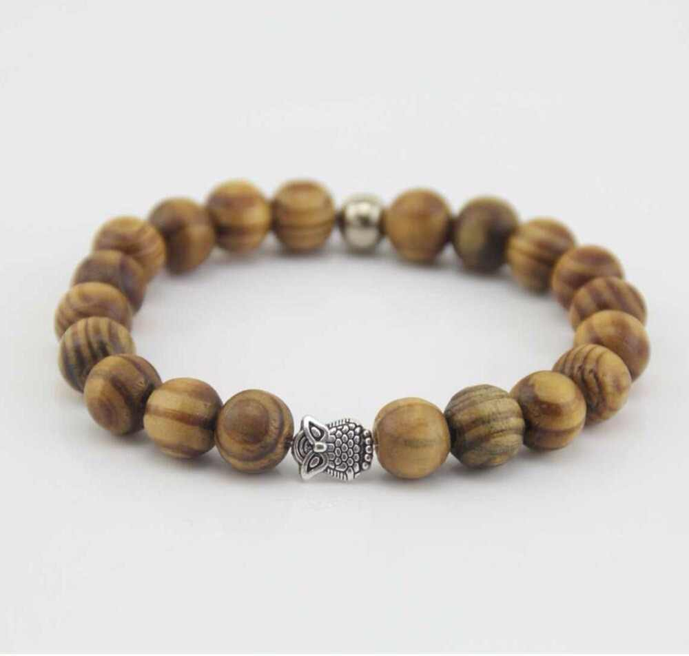 Pachnące drewniane koraliki bransoletka mężczyźni i kobiety 10mm ze stopu głowa buddy starożytny złoty starożytny srebrny lew lampart czaszka bransoletka b0106