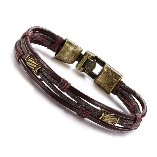 Fashion Multi-Layer Genuine Leather Man Bracelets Casual/Sporty Easy Alloy Hook Link Chain Men Jewelry Cheap Price