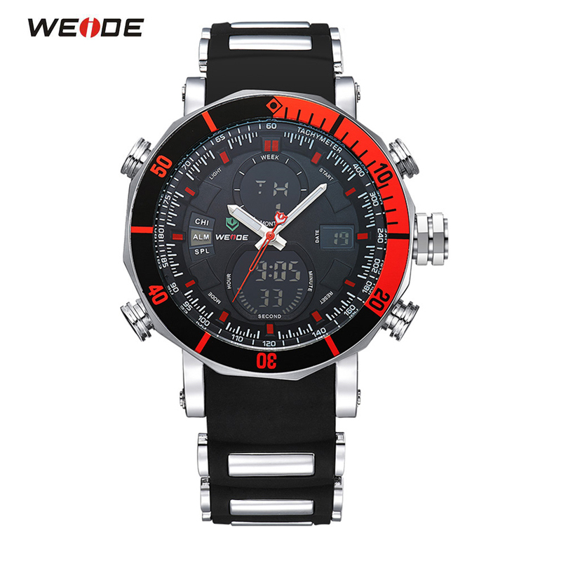 WEIDE Famous Brand Sport Watch Men LED Back Light Analog Quartz Digital Alarm Stopwatch Outdoor Men Military Watches Wristwatch watch men led digital waterproof wristwatch casual man sport watches 2017 new weide famous brand saat erkekler horloges mannen