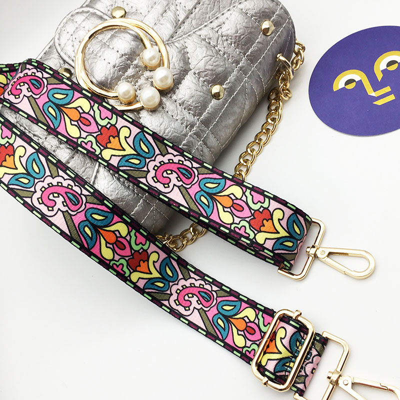 Ike Marti Colorful Bag Strap Belt Flower Replacement Wide Straps For Crossbody Bag Accessories Nylon Shoulder Strap For Bags