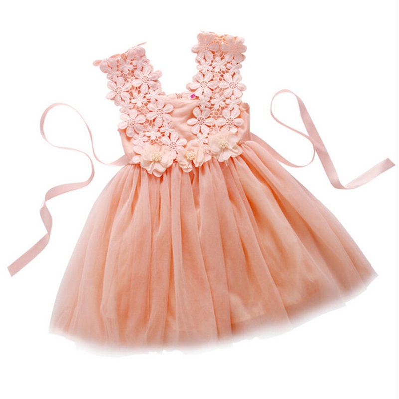 Infant Floral Clothes Sleeveless with Flowers Summer Girls Baby Clothing Tulle Party Princess Lace Dress Children Daily Clothes
