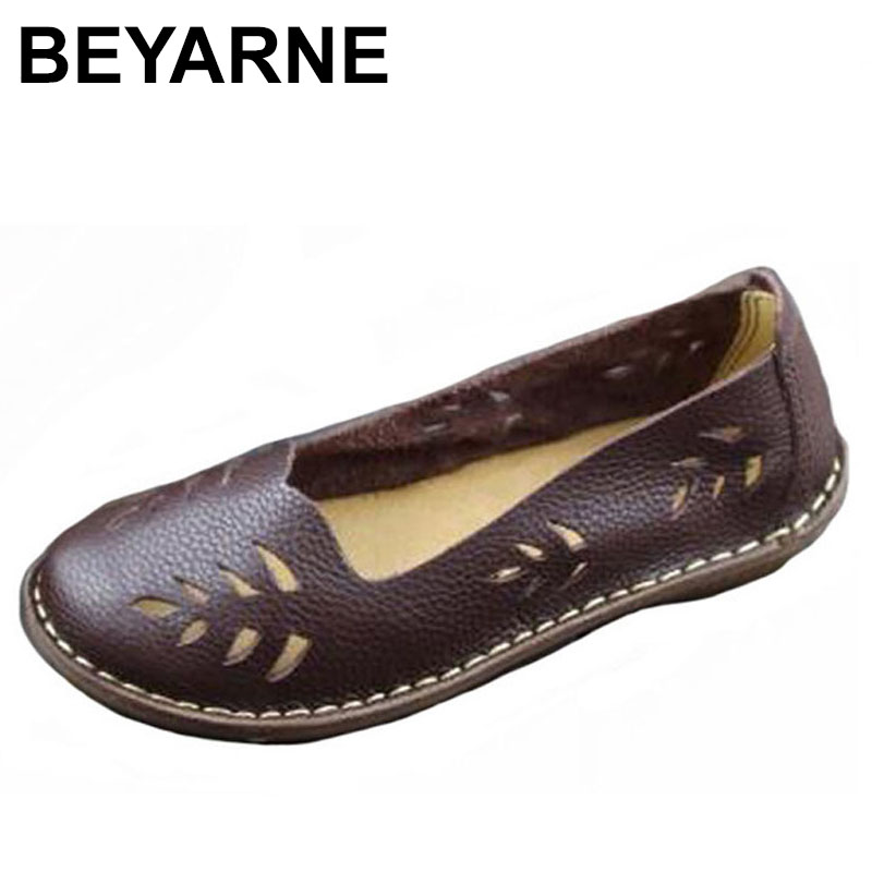 BEYARNE Women's Shoes Genuine Leather Slip on Ladies Flat Shoes Round to Hollow out Breathable Summer Shoes Female Footwear bag giulia monti bag