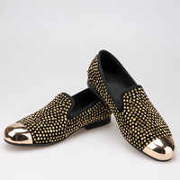 gold toe and gold mens dress shoes leather slippers men party wedding dress shoes men's flats