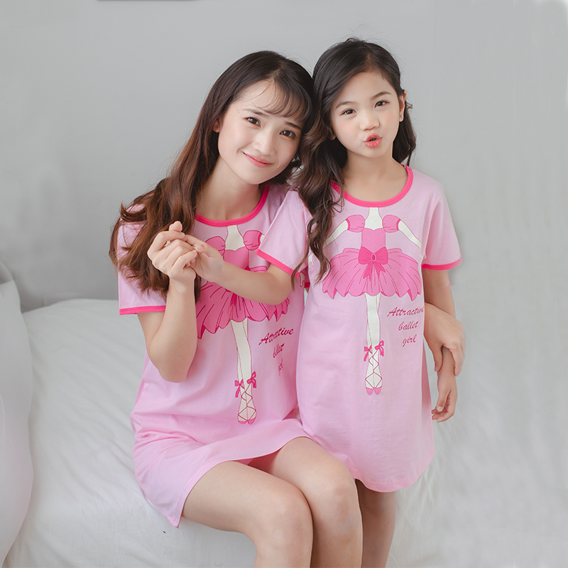 2019 New Girls Cotton Nightdress Children Pajamas Little Girls Dress Kids Baby Parent-child Outfit Big Girls Unicorn Nightgowns(China)