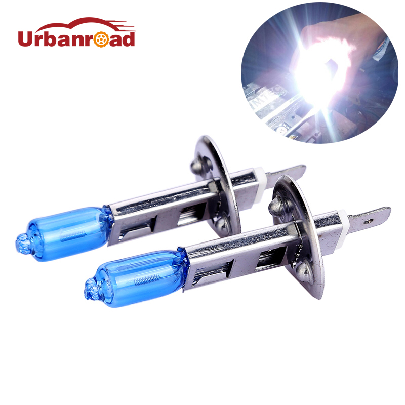 Urbanroad 2pcs H1 55W 12V Headlight Bulb Lamp Halogen Fog Lights Auto Car Light 6000k for all car 2pcs h1 headlight bulb lamp 12v 55w super white 6000k halogen xenon car styling for ford auto car headlight bulb