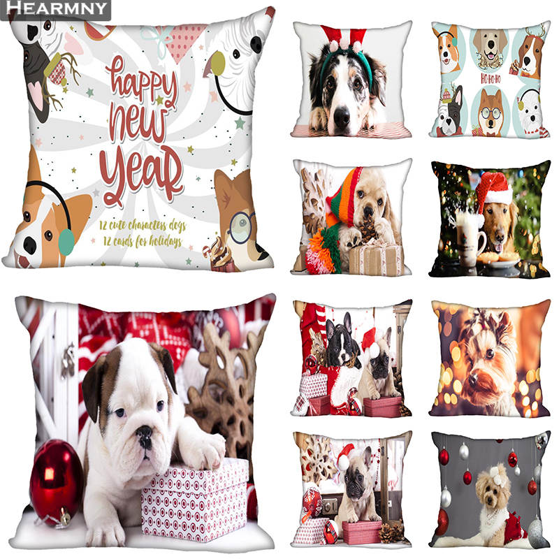 Custom Decorative Pillowcase Christmas Dog Square Zippered Pillow Cover 35X35,40x40,45x45cm(One Side)