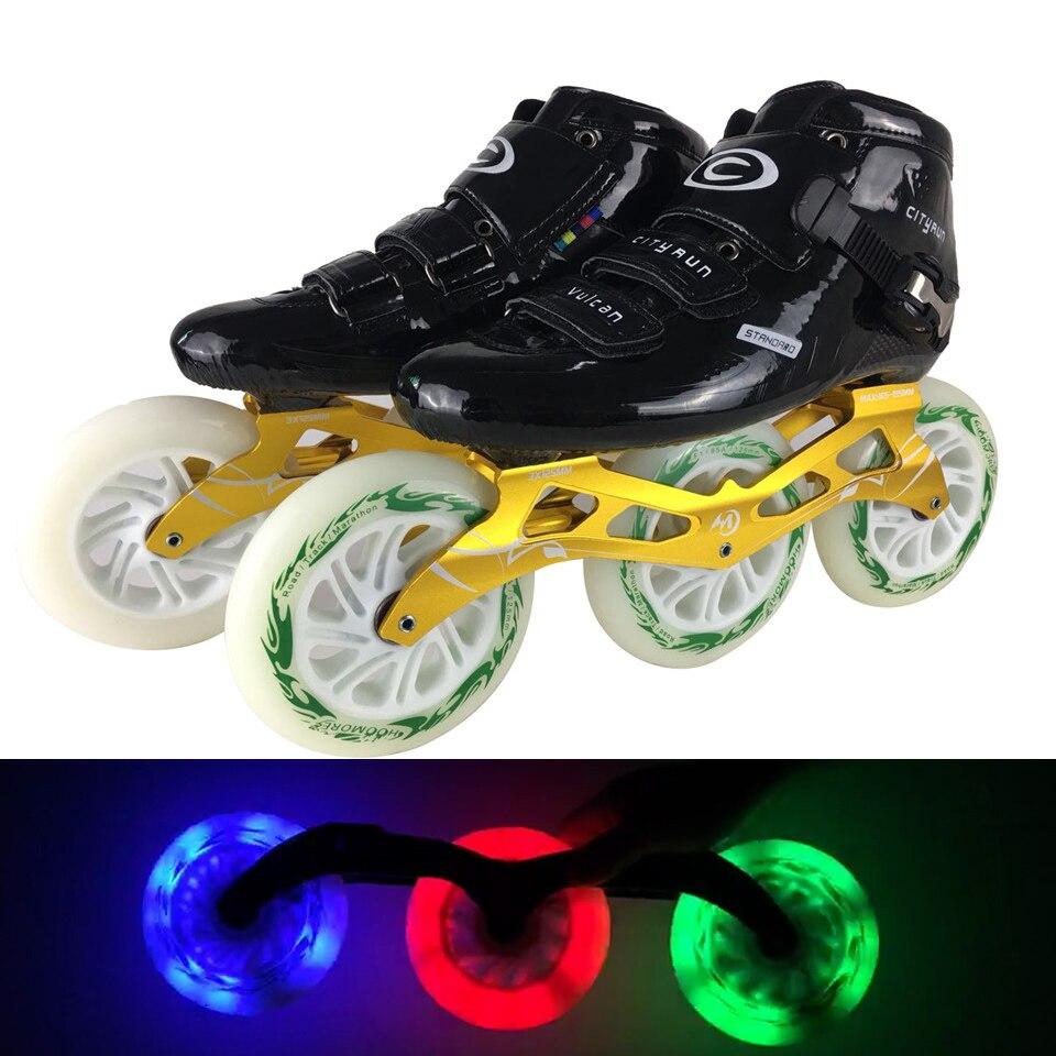 JEERKOOL Cityrun2 профессиональные скоростные роликовые коньки роликовые ботинки из углеродного волокна Led 125 мм колеса коньки для детей взрослых м