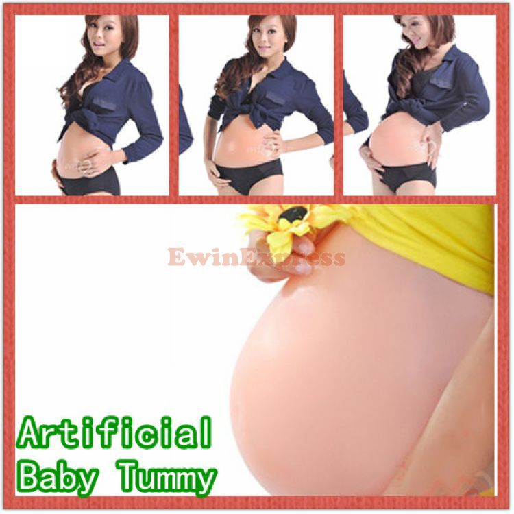 1 X ARTIFICIAL FAKE SILICONE font b PREGNANT b font BELLY BABY BUMP DOLL PREGNANCY S