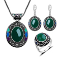 2016 New Fashion Ethnic Style Vintage Turkish Jewellery Set Green Resin And Enamel Antique Silver Plated Jewelry Sets For Women