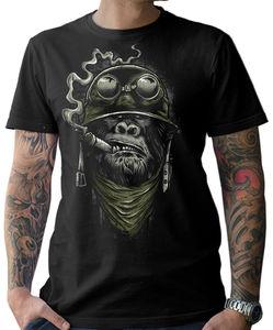 Biker T-Shirt-Gorilla Monkey Motorcycle Chopper Bobber Old School Men'S Men 2019 New Short Sleeve Cotton Print Plain T Shirts(China)