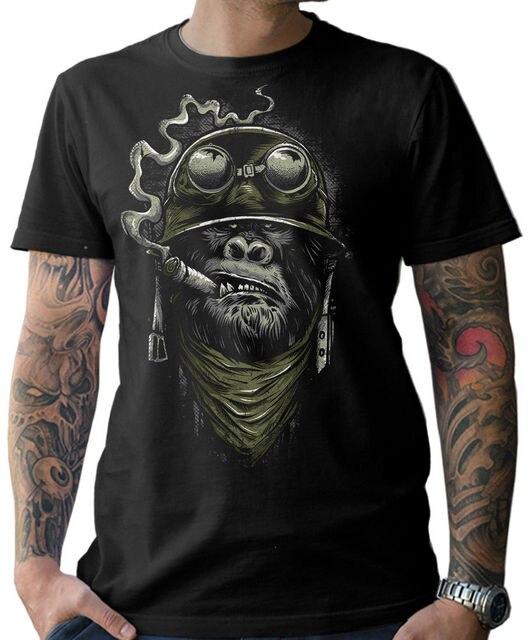 Biker T Shirt Gorilla Monkey Motorcycle Chopper Bobber Old School MenS Men 2019 New Short Sleeve Cotton Print Plain T Shirts