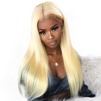 Blonde 360 Lace Frontal Wig Pre Plucked With Baby Hair 613 Lace Front Wig For Women Black 150% Density Brazilian Straight Wig