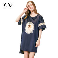 Silk Dress Night Gown Satin Nightgown Short Women Summer Navy Sexy Costumes Pink Chemise Lingerie Lace Sleep Wear Negligee