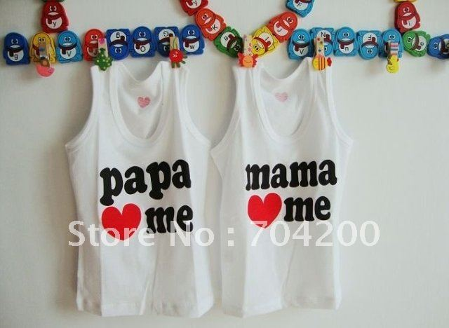 24pcs/lot- Baby cotton rompers/Girl's T-Shirt/papa love me&mama love me Cotton T-Shirt