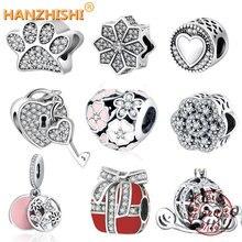 Fit Pandora Charm Original Bracelet Silver 925 2016 Autumn Winter DIY Berloque Enamel Poetic Bloom With Zircon Flower Heart Bead