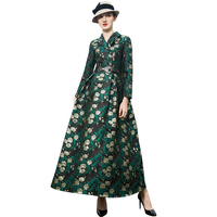 Trench Dress High Quality 2019 Spring Party Dress Women's Wonderful Flowers Jacquard Long Dress DZ1016
