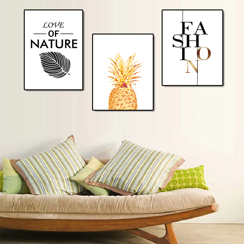 Framed Canvas Painting Pineapples Prints Home Wall Art Decor Fruit Picture Poster Office Kitchen Decoration 10 X 16in Home Kitchen Wall Decor Mhiberlin De