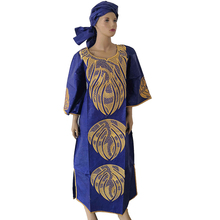 MD african dresses for women bazin riche dress with head wraps one set 2019 new africa dashiki sets ladies clothes turban