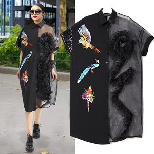 Image 2 - 2020 Summer Women Black Midi Mesh & Chiffon Shirt Dress Plus Size Ruffle Embroidery Sequined Ladies Sheer Party Dress Robe 3392