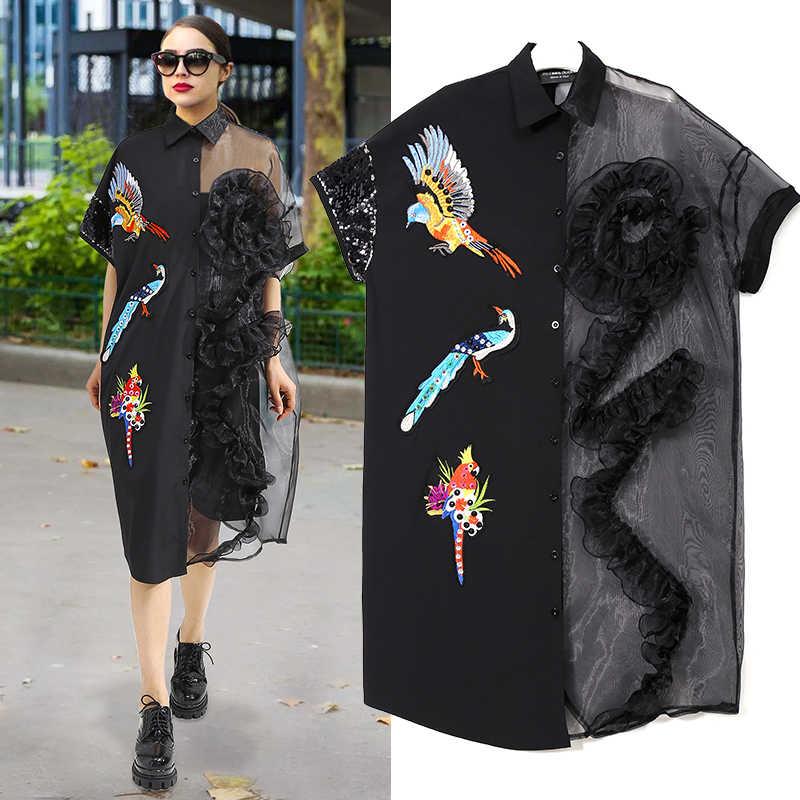 2020 여름 여성 블랙 미디 메쉬 & 쉬폰 셔츠 드레스 플러스 사이즈 프릴 자수 스팽글 숙녀 쉬어 파티 드레스 로브 3392