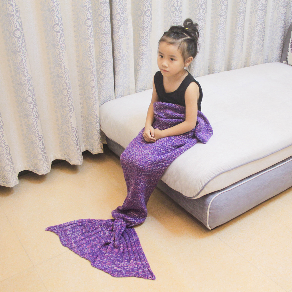 Solid Color Mermaid Blanket Tail For Kids Children Sleeping Bag Small Bed Sofa Quilt Yarn Knitted Crochet Blankets Acrylic