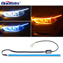 Doofoto 2x LED DRL Turn Signal Lights Car Headlight Surface Daytime Running Light Car Accessories Styling Waterproof For All Car цена в Москве и Питере
