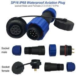1 pc conexão de rosca ip68 à prova dip68 água conector de cabo sp16 plug & soquete macho e fêmea 2 3 4 5 6 7 9 pinos