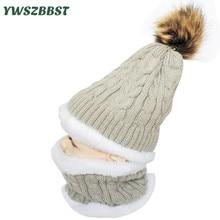 Trend Fake Fur Balls Child Hat Scarf set Child Hat for Ladies Boys Crochet Autumn Winter Kids Children Cap Scarf units for 1 to 5Y