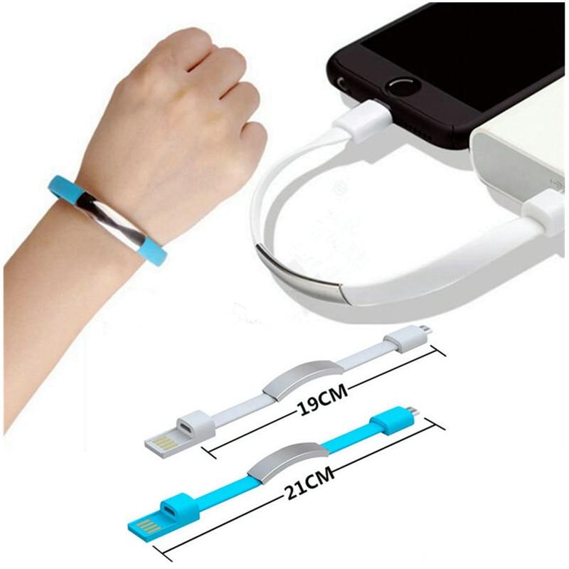 Mini Bracelet USB coloré Portable câble téléphone Portable chargeur rapide adaptateur de câble pour iPhone 8 X XS XR 6 USB câble de données de charge