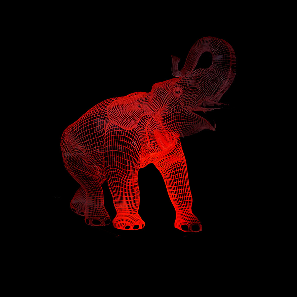 Elephant 3D Illusion LED Night Light Dance with 7 Colors Light for Home Decoration Table Lamp USB Bedroom Gift p20 big promotion magic colorful led table lamp creative 7 colors bed light bedroom sleeping led night lights for decoration gift